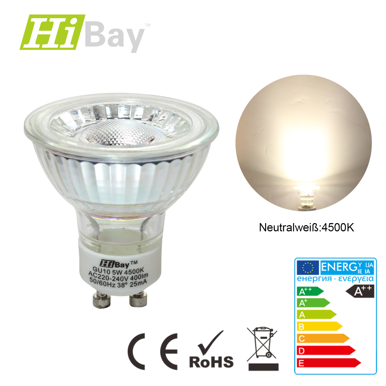 5w gu10 led cob leuchtmittel halogenlampe reflektor strahler nein dimmbar ebay. Black Bedroom Furniture Sets. Home Design Ideas