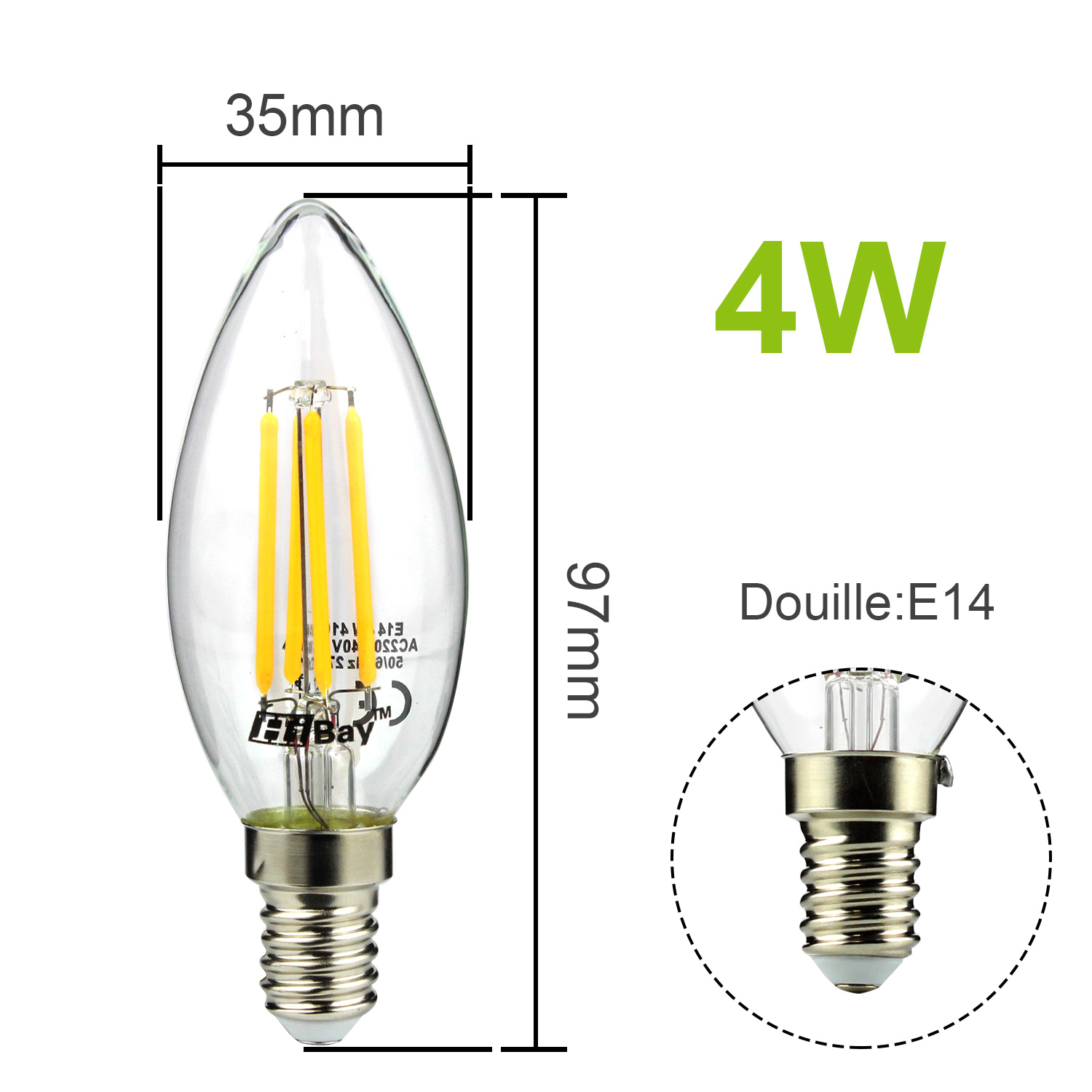 vintage led filament e14 e27 edison style ampoule bougie globe forme cob lampe ebay. Black Bedroom Furniture Sets. Home Design Ideas