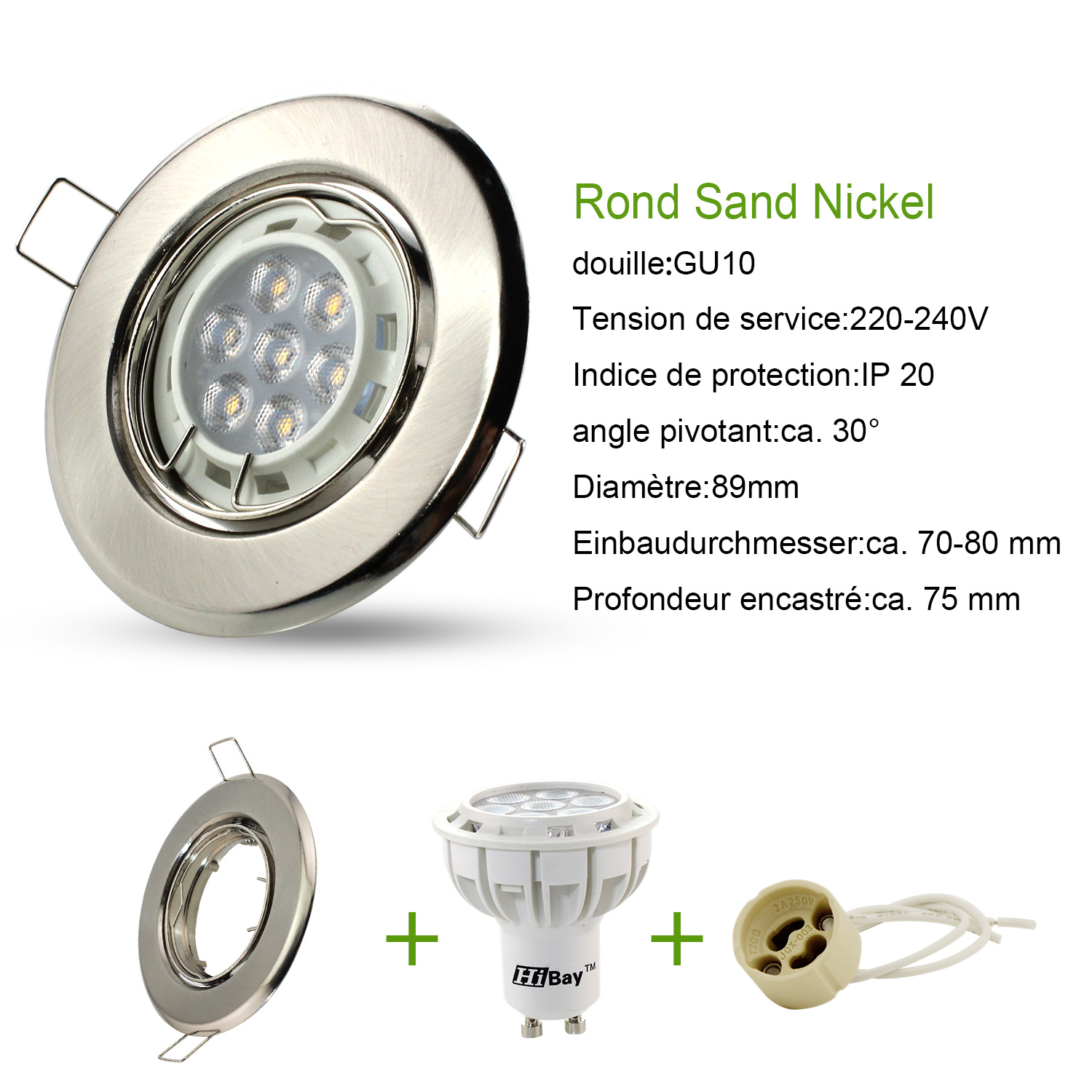 LOT-Spot-LED-Encastrable-Orientable-GU10-230V-Rond-7w-55w-HALOGENE-Blanc-Chaud