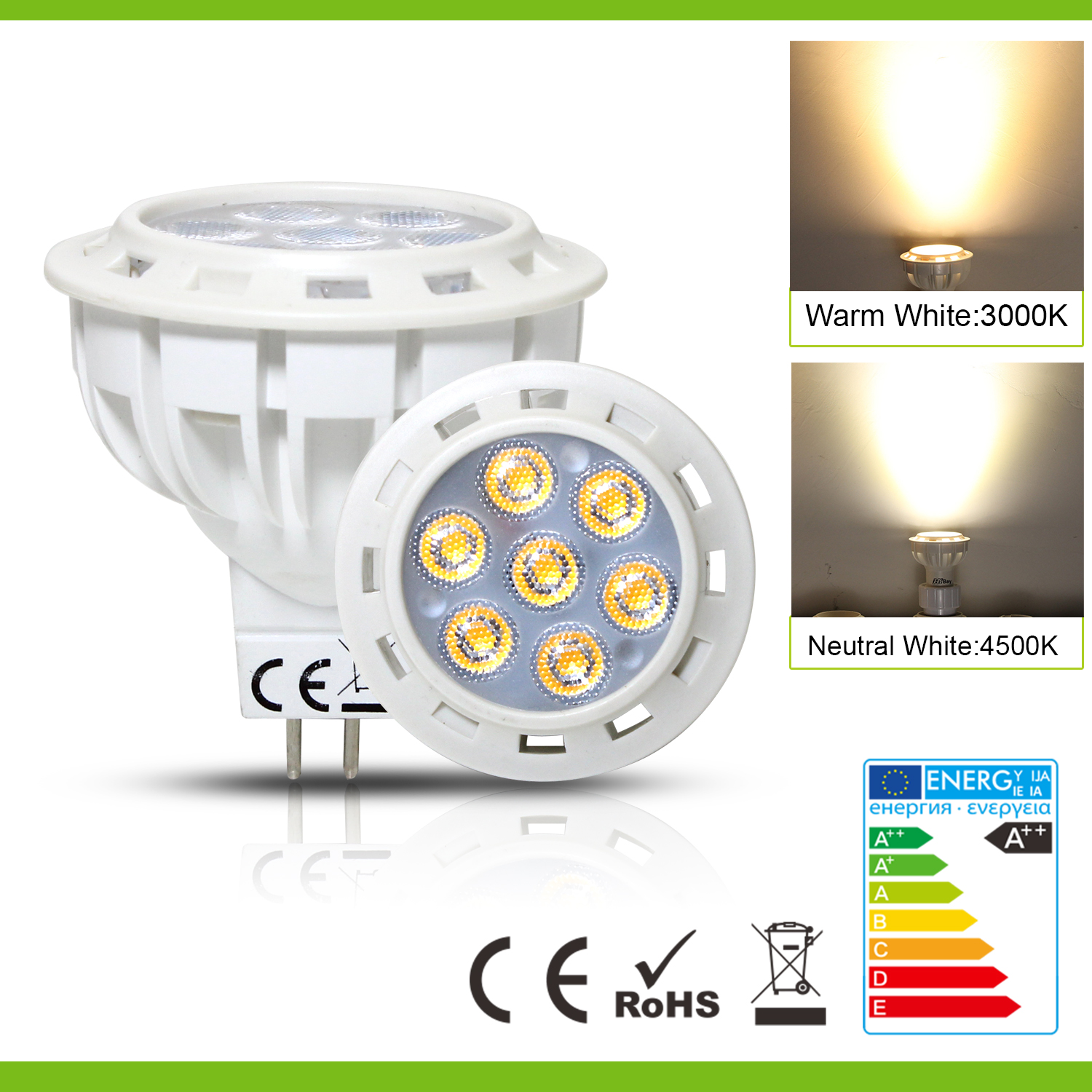 mr16 gu5 3 led light spot bulb ac dc 12v warm white replace 25w 55w halogen uk ebay. Black Bedroom Furniture Sets. Home Design Ideas