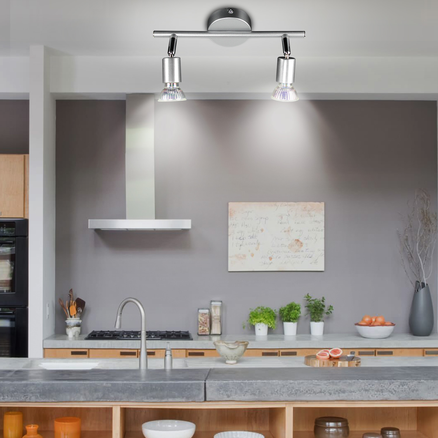 Great Ways For Lighting A Kitchen: Modern 2 3 Way Adjustable GU10 LED Kitchen Ceiling Lights
