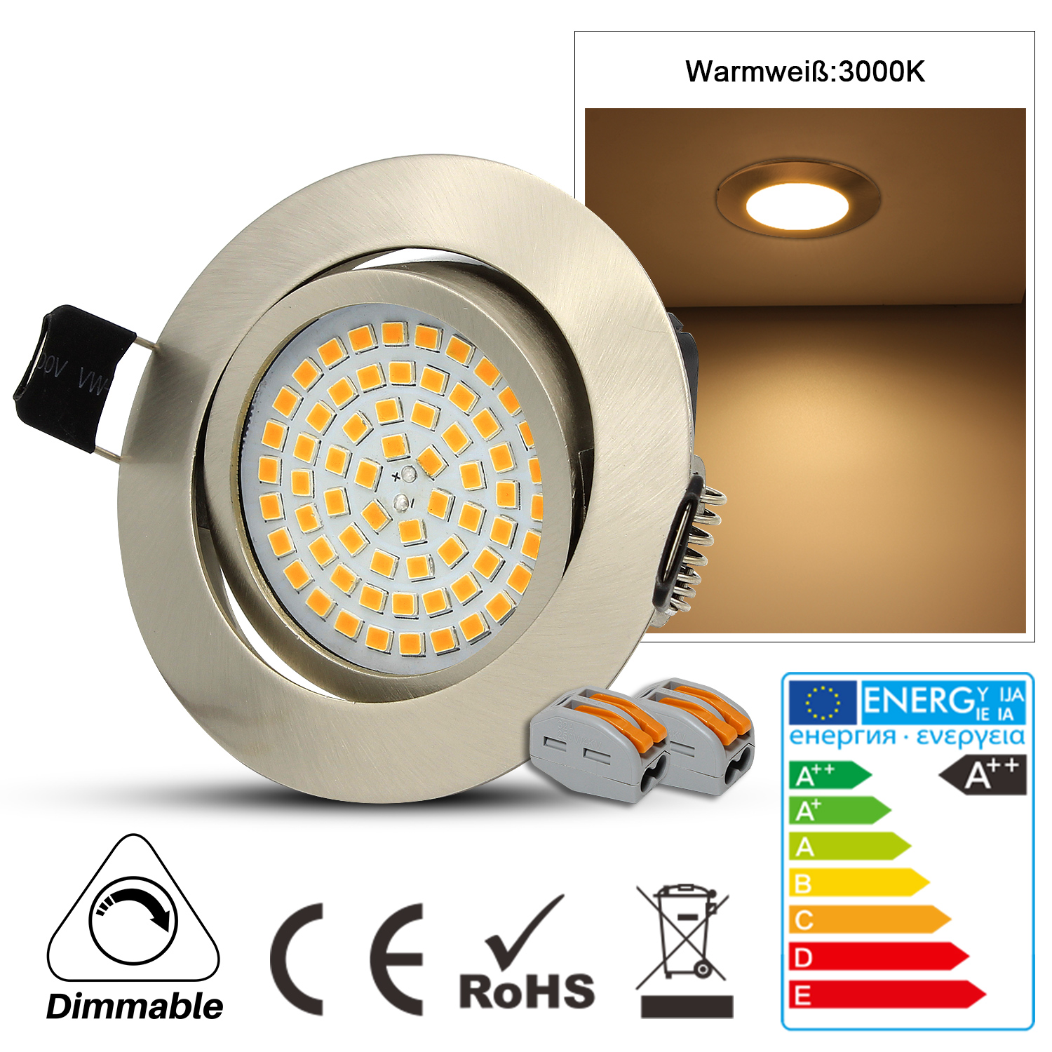 4x 5w Dimmable Led Ceiling Lights Spotlight Integrated
