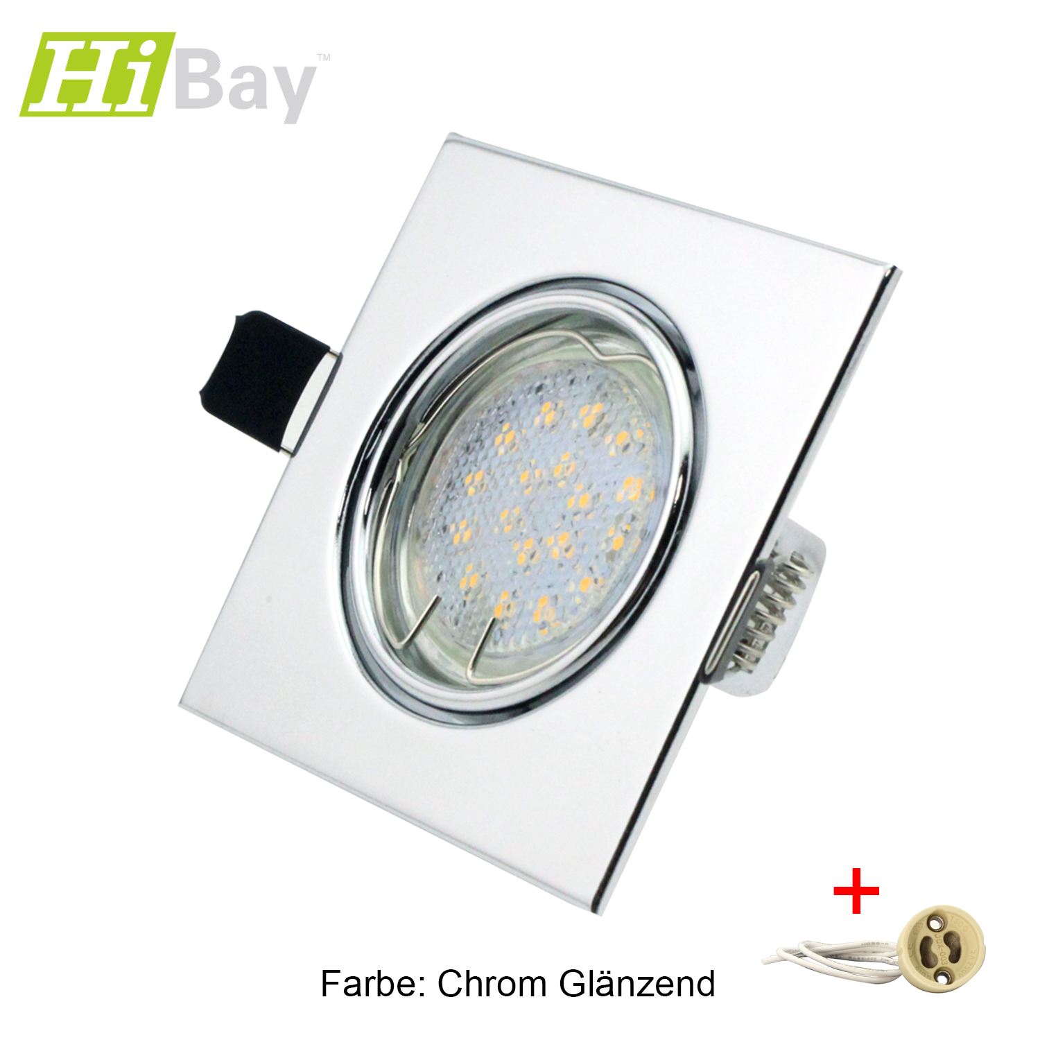 eckig led set einbaustrahler 5w gu10 smd einbaurahmen fassung weiss chrom ebay. Black Bedroom Furniture Sets. Home Design Ideas